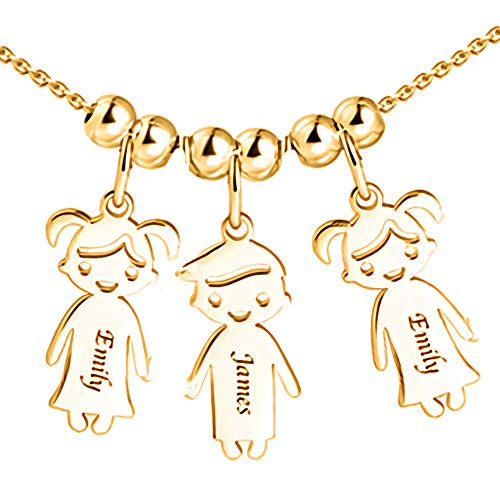 Personalized 1 to 5 Children Charms Mothers Name Necklace in 925 Sterling Silver Rose Gold-Engraved Boy Girl Charm Necklace Ideal - Gold Girls Charm