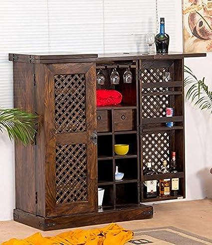 B.L Wood Furniture Sheesham Wood Stylish Bar Cabinet with Wine Glass Storage for Living Room | Dark Brown Finish