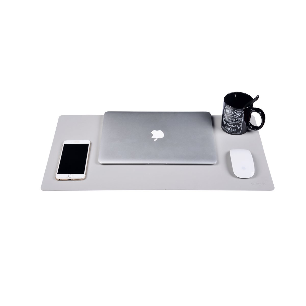 Leather Desk Pad Protecter,Dual Use Desk Writing Mat for Office/Home/School 23.5''12.5''WAYIFON (Grey)