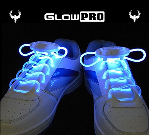 GlowPRO LED Shoelaces - Santa Claus favorite Stocking Stuffer, this Glow in the Dark Christmas Gift is Cool Fun for Kids, Party and Cosplay. Flashing Lights give Night Safety for (Glow In The Dark String)