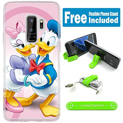 [Ashley Cases] For Samsung Galaxy S9 Cover Case Skin With Flexible Phone Stand - Donald Duck Couple Pink