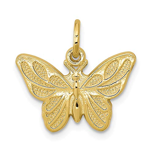 10k Yellow Gold Butterfly Pendant Charm Necklace Animal Fine Jewelry Gifts For Women For Her (Gold Charm Vintage 10k)