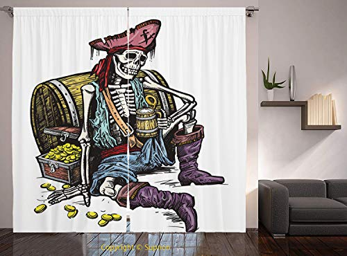 Living Room Bedroom Window Drapes/Rod Pocket Curtain Panel Satin Curtains/2 Curtain Panels/55 x 45 Inch/Pirate,Skeleton Pirate Holding Mug of Beer Treasure Chest Gold Freebooter Sailor Corsair Decorat