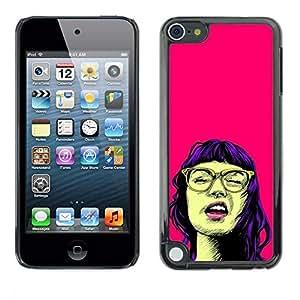 Opción de regalo/Slim carcasa SmartPhone de celular para Apple iPod Touch 5 // Chica retrato de la cultura Pop gafas ROSA Neon //