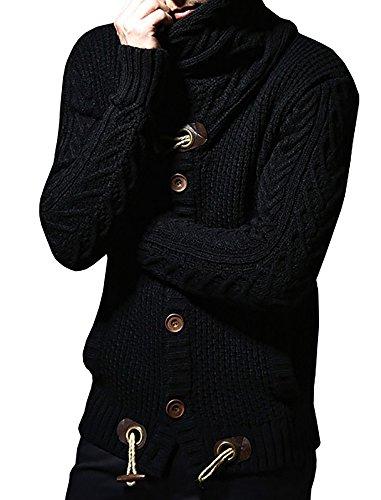Ferbia+Men%27s+Thick+Coat+Cashmere+Turtleneck+Sweater+Cardigan+Male+Wear+Wool+Sweater+Lapel+Tide