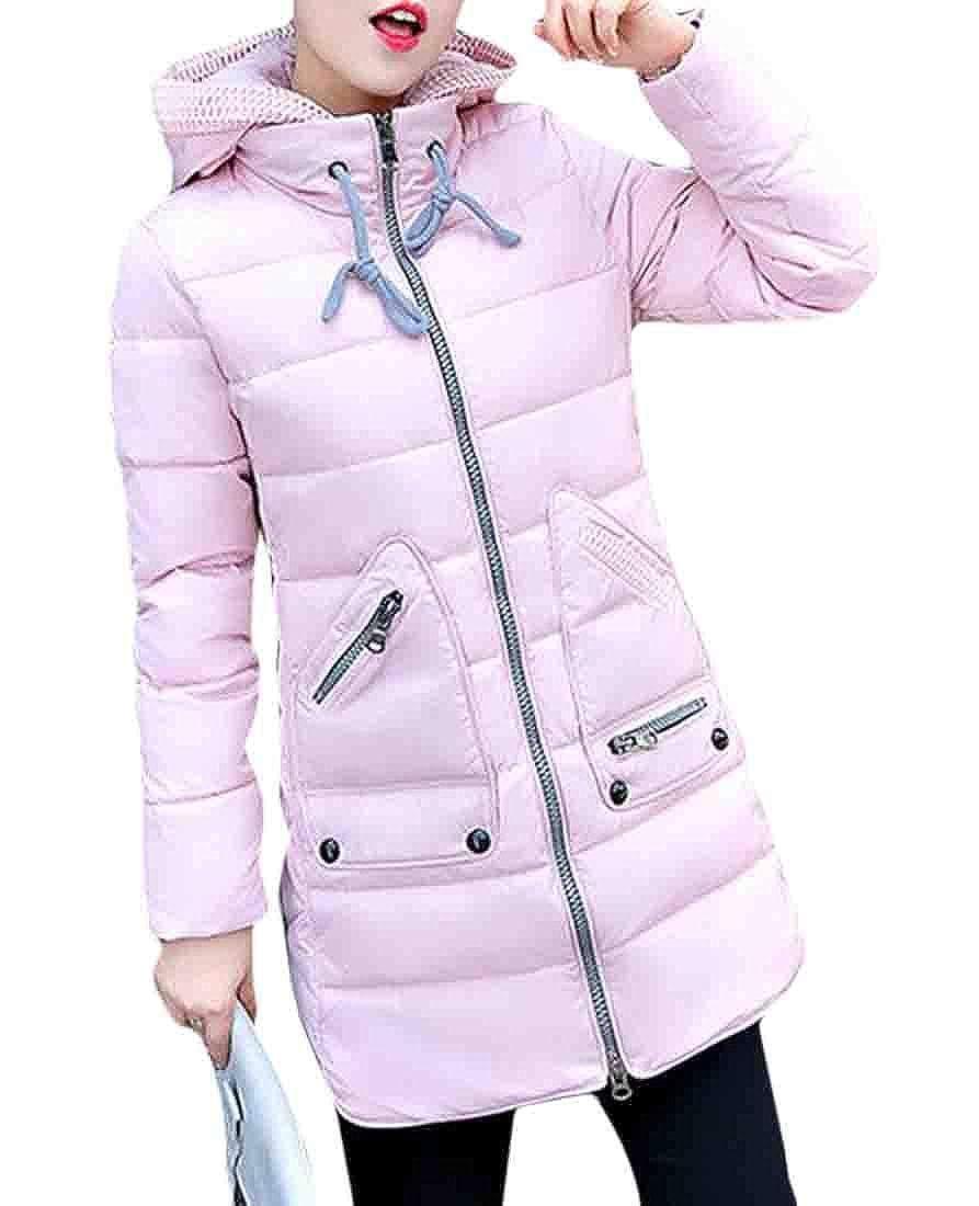 Ueioc Women Plus Size Thick Winter Zip up Warm Packable Hooded Down Jacket Coats