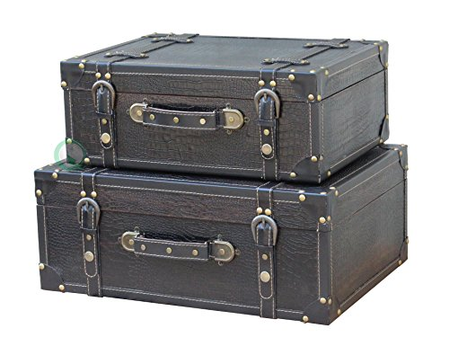 Vintiquewise(TM) Antique Style Leather Suitcase with Straps, Black by Vintiquewise (Image #1)