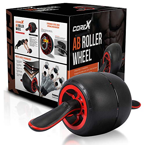 Core-X Ab Roller Wheel | Ultimate core Strength Training Exercise for Your ABS | Workout at Home Work or Gym | Tone Your Core Body Muscles with AB Trainer Equipment Roller/Carver | Bonus Knee Mat