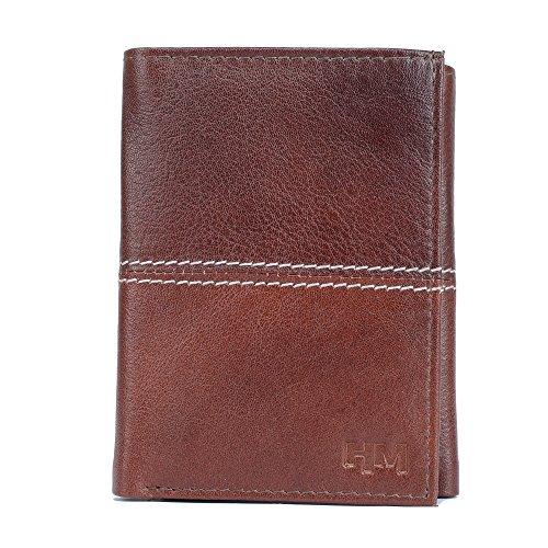 Hidemaxx Brown Genuine Leather Men's Trifold Wallet