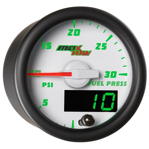 MaxTow Double Vision 30 PSI Fuel Pressure Gauge Kit - Includes Electronic Sensor - White Gauge Face - Green LED Illuminated Dial - Analog & Digital Readouts - for Diesel Trucks - 2-1/16