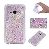 Galaxy J7 2015 Liquid Case,Galaxy J7 2015 Floating Case,Leeook Luxury Beauty Bling Shiny Sparkle Glitter Cover Rose Red Gold Love Heart Quicksand Flowing Creative Design Crystal Transparent Clear Plastic Soft TPU Protective Shock Proof Shell Case Cover Bum