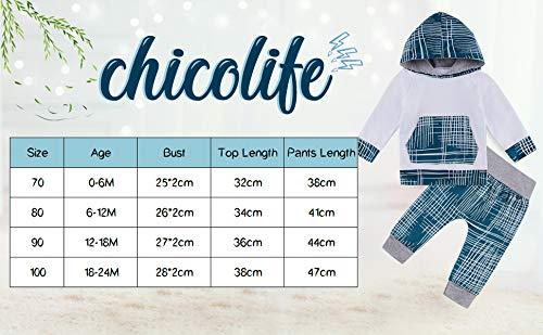 chicolife Toddler Infantile Manica Lunga con Cappuccio Set Neonati Maschi Patchwork Top Tuta Coulisse Pantaloni Outfit 0… 6