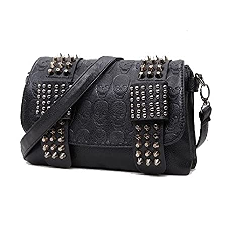 Amazon.com   luxury handbags women bag designer pu leather women s bag  rivet chain messenger shoulder bags female skull   Everything Else f88c759e33ba8