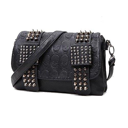 luxury handbags women bag designer pu leather women's bag rivet chain messenger shoulder bags female skull