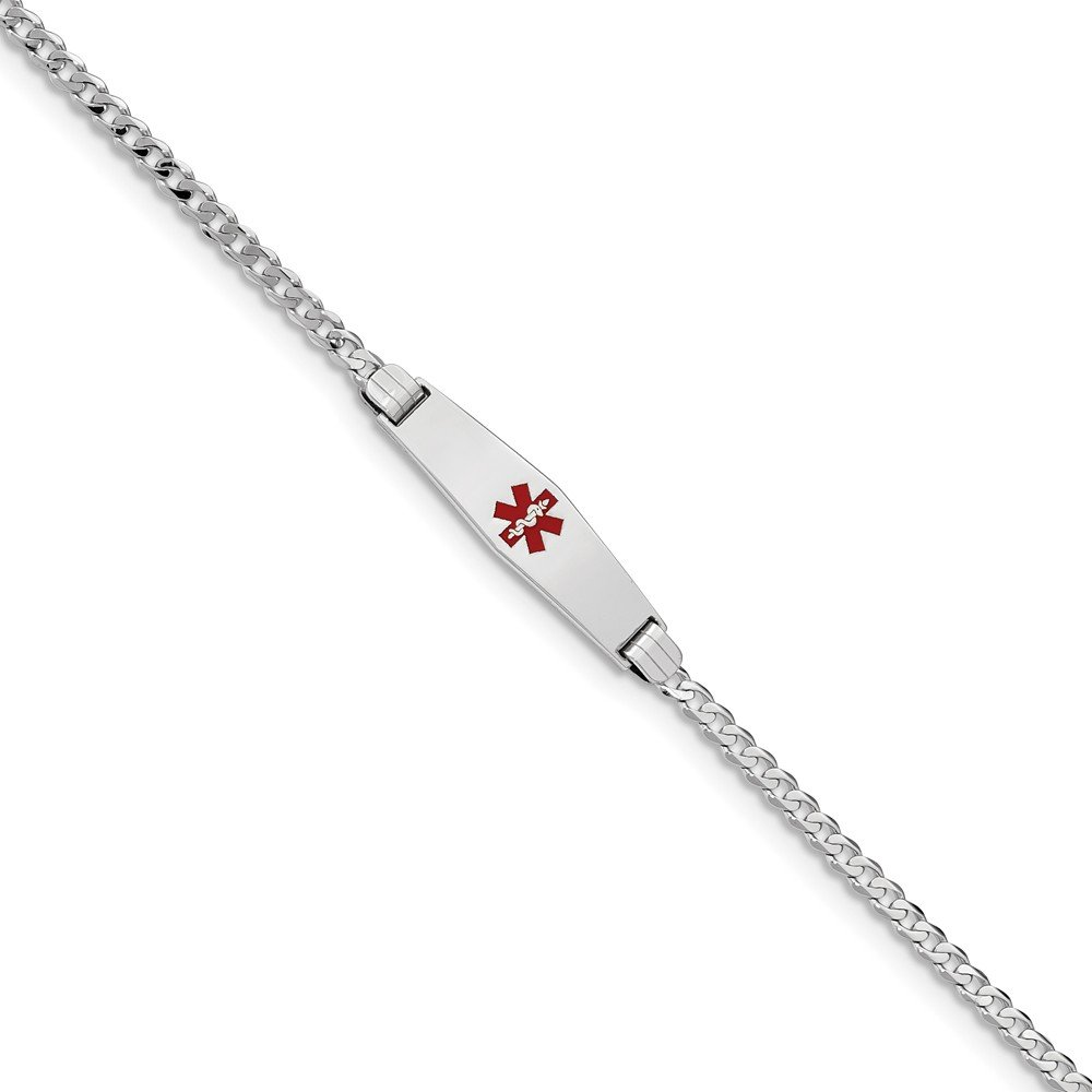 7.5mm Solid 14k White Gold Medical Soft Diamond-Shape Red Enamel Flat Cuban Curb Link ID Bracelet with Secure Lobster Lock Clasp