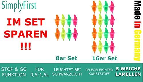 16 Ausgießer neon mit 5 weichen Lamellen tropffrei und STOP & GO Funktion, für Flaschen 0,5-1,5L, Gastro Qualität in Neon Farben by SimplyFirst MADE IN GERMANY (Inhalt: 4 orange, 4 gelb, 4 grün, 4 magenta)