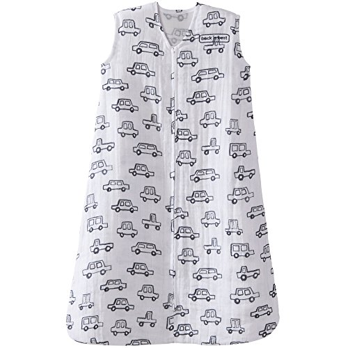 - Halo 100% Cotton Muslin Sleepsack Wearable Blanket, Navy Cars, Medium