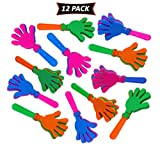 Hand Clappers In Assorted Bright Colors - Fun Kids Party Favors And Prizes - Pack Of 12 Party Noisemakers