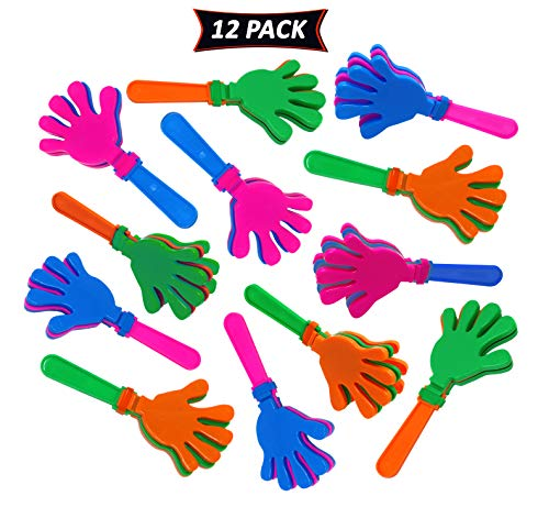 Hand Clappers In Assorted Bright Colors - Fun Kids Party Favors And Prizes - Pack Of 12 Party -