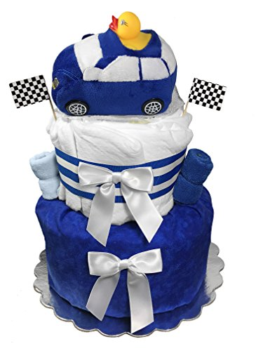 Diaper Cake for a Boy - Racecar 7 Piece Baby Shower Centerpiece Gift Set by Sunshine Gift Baskets