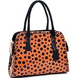 Fashion Handbag Polka Dot Shoulder Bag Top Zip Purse w/ Side Pockets Orange/Black