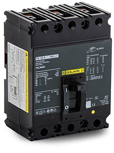 - New Square D FAL34020 Circuit Breaker 3 Pole 20A 480V Type FAL