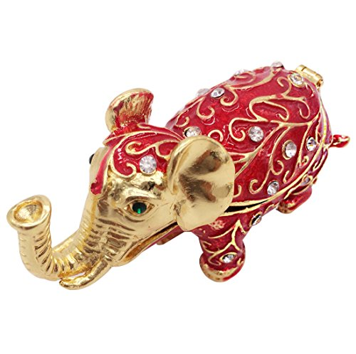 Waltz&F Elephant Trinket Box Hinged Hand-painted Figurine Collectible Ring Holder with Gift - Elephant Red