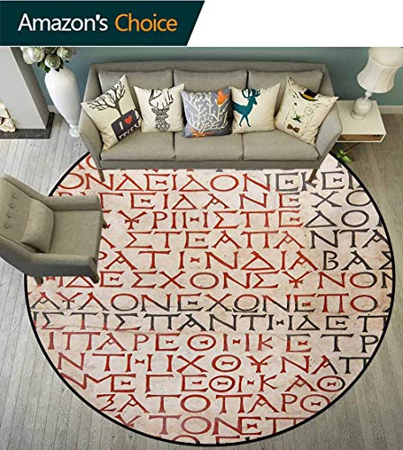 (RUGSMAT Toga Party Modern Machine Washable Round Bath Mat,Antique Latin Culture Alphabet Writing Carved On The Tombstone Print Non-Slip Soft Floor Mat Home Decor,Round-39 Inch Peach Dark Coral Taupe)