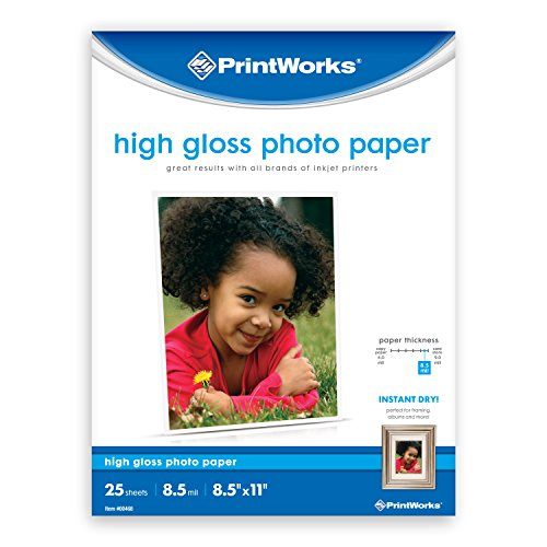 "Printworks High Gloss Photo Paper for Inkjet Printers, 8.5 mil, 25 Sheets, 8.5"" x 11"" (00468) by PrintWorks"