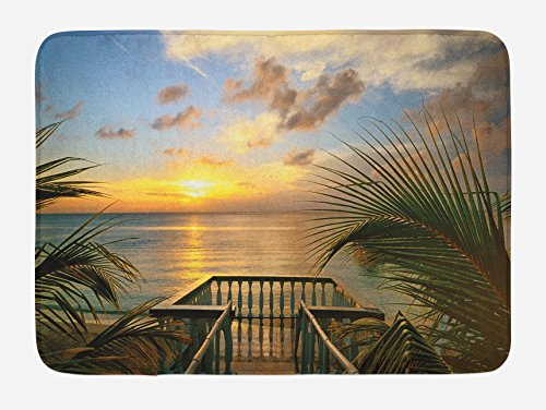Ambesonne Ocean Bath Mat, Mediterranean Horizon Seascape from Wooden Terrace Balcony Fences Holiday Life Photo, Plush Bathroom Decor Mat with Non Slip Backing, 29.5 W X 17.5 L Inches, Green Grey ()