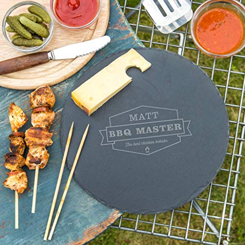 Personalized Cutting Board for Dad - 'Bbq Master' Design - Grilling Gifts for Him - Unique Birthday, Fathers Day, Christmas Gift for Men - Engraved 25cm Round Slate Serving Board