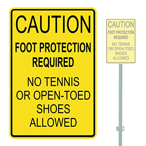 FOOT PROTECTION REQUIRED HEAVY DUTY ALUMINUM WARNING SIGN 10