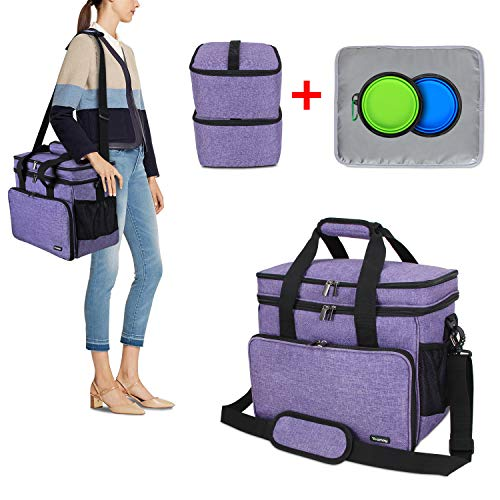 - Teamoy Double Layer Dog Travel Bag with 2 Silicone Collapsible Bowls, 2 Food Carriers, 1 Water-Resistant Placemat, Pet Supplies Weekend Tote Organizer(Medium, Purple)