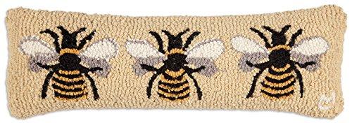 Beautiful Handmade Decorative Design By Chandler 4 Corners Hand Hooked Bumblebee Wool Pillow 8