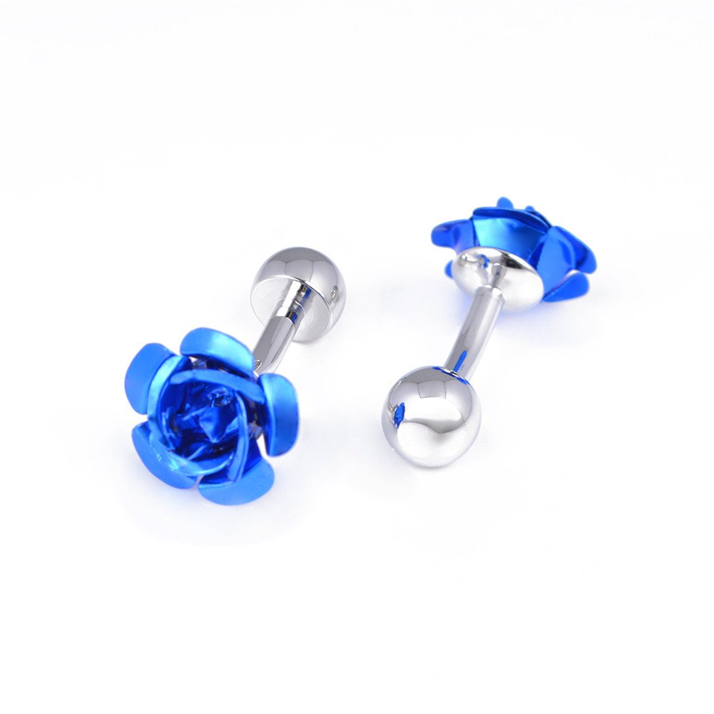 Da.Wa 1 Pair Rose Flower Cuff Links for Mans Women Jewelry Gift for Wedding Anniversaries Birthday Cufflinks by Da.Wa (Image #6)