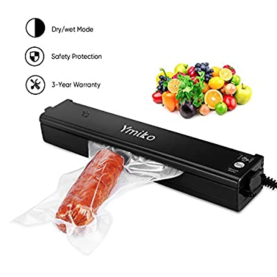 Vacuum Sealer Machine ,Ymiko Portable Compact Vacuum Sealing System for Vacuum and Seal /Seal ,Sous Vide Cooking Mufti-function including 20 Bags Black from Ymiko