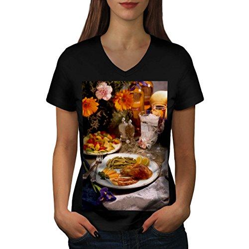 Hähnchen Mit vegies Cafe Essen Damen NEU Schwarz L T-shirt | Wellcoda