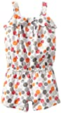 Calvin Klein Baby Girls' Printed Romper, Gray/Orange, 12 Months