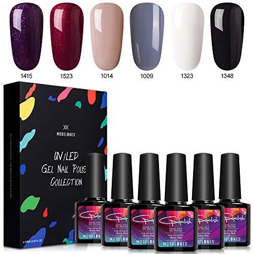 Modelones Gel Nail Polish Set - Elegant Series 6 Colors Nail Art Gift Set, UV LED Soak Off Gel, 0.33 OZ 10ML -