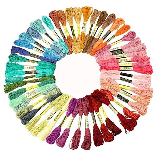 Embroidery Floss Kit, 50 Assorted Rainbow Colors Polyester Sewing Skeins Line Cross Stitch Thread Friendship Bracelets String Art Crafts Drhob