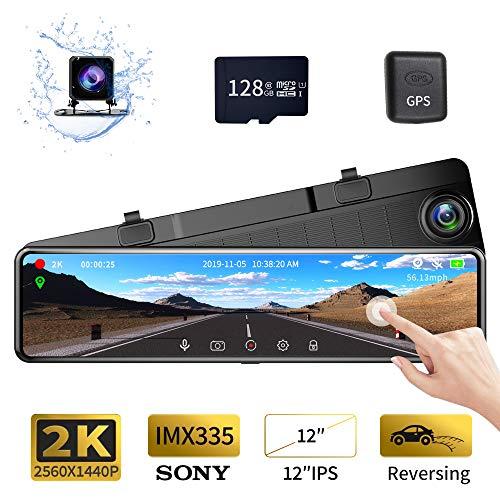 "Karsuite M9 12"" Mirror Dash Cam 2560x1440P Backup Camera with"