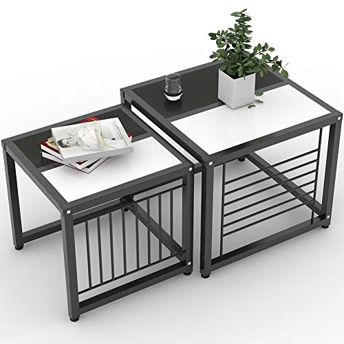 Tribesigns Nesting Coffee Tables Set of 2, Square Side End Table for Living Room, Accent Tables with Sturdy Metal Frame, Black and White (Square Nesting Tables Iron)