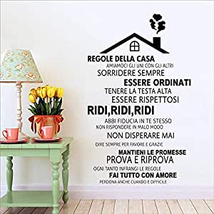 WWYJN Italian House Rules Removable Vinyl Wall Stickers Home ...