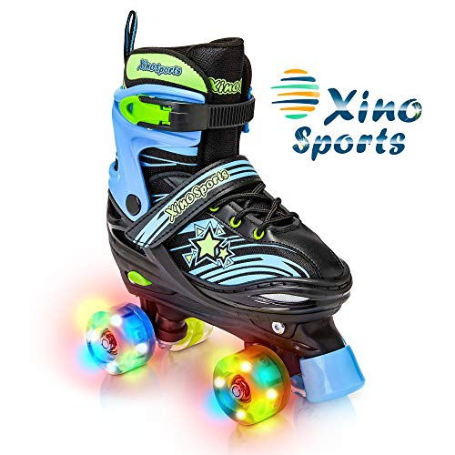 Xino Sports Adjustable Roller Skates for Children - Featuring Illuminating LED PU Wheels, Safe and Durable Roller Skates, Perfect for Boys and Girls! 1 Year Warranty and a Life Time Support
