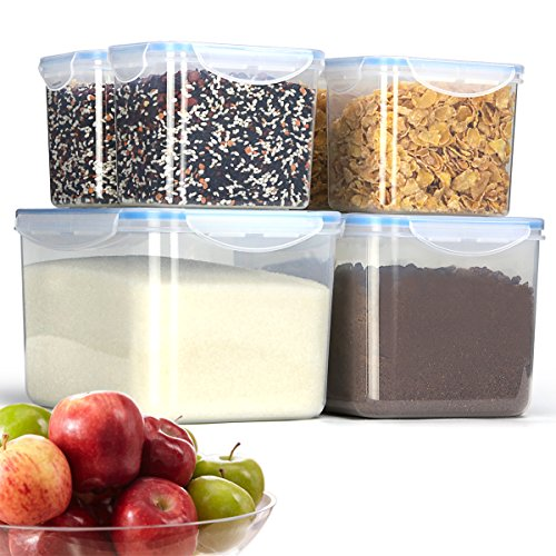Duramont Airtight Food Storage Container 6-Piece Set, Big Sizes Included, Leakproof With Locking Lids - BPA Free Plastic - Microwave, Freezer and Dishwasher Safe