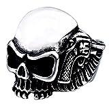 SAINTHERO Men's Vintage Gothic Stainless Steel Rings Skull Wings Motorcycle Biker Rings Silver Size 10