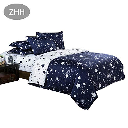 ZHH Dream Star Duvet Cover Set, Comforter Set Luxury Soft Bedding, Space Theme Kids Quilt Cover (Blue White, 1 Quilt Coverlet & 2 Pillowcases, Twin Size)