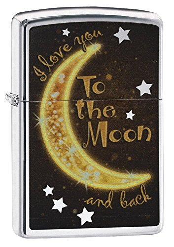 Zippo To the Moon & Back Pocket Lighter, High Polish Chrome