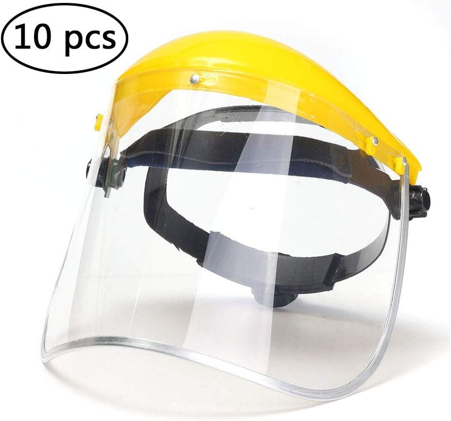 Caras de seguridad Shields, PVC transparente de protección de seguridad a prueba de polvo anti-saliva Caras Shields por cabeza máscara para los ojos Caras Protección 10pcs