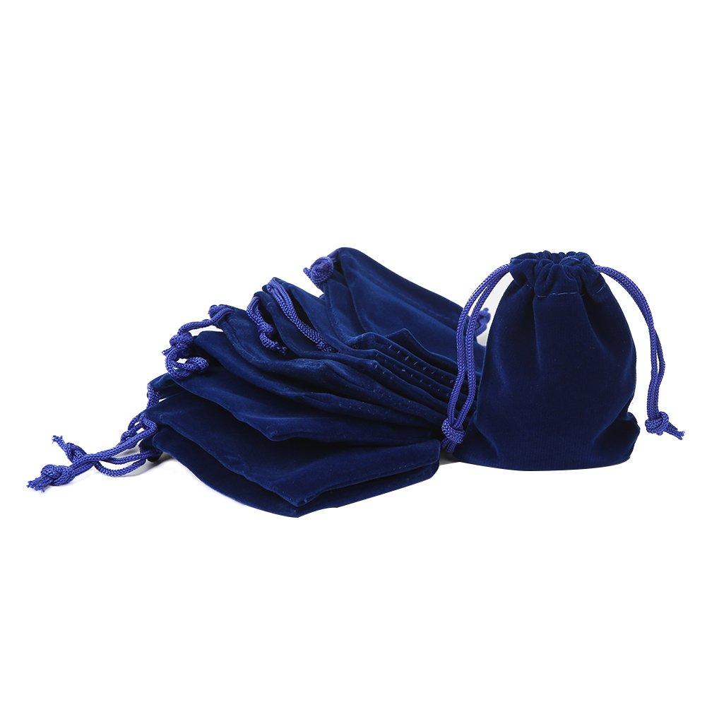 Shintop 10 Stück Schmuckbeutel Samt, Samtsäckchen Samtbeutel Geschenksäckchen für Schmuck und Geschenk-Verpackung (Blau) HuaRuiXing